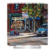 Original Art For Sale Montreal Petits Formats A Vendre Boulangerie St.viateur Bagel Paintings  Shower Curtain