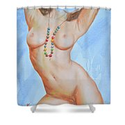 Original Body Oil Painting - Nude Girl#16-2-5-23 Shower Curtain