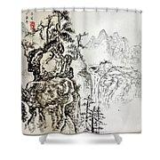 Original Chinese Nature Scene Shower Curtain