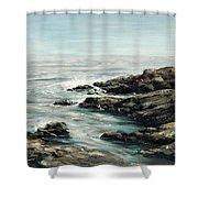 Original Fine Art Painting Bass Rocks Massachusetts Shower Curtain by G Linsenmayer
