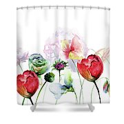 Original Floral Background With Flowers Shower Curtain