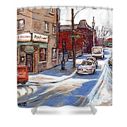 Original Montreal Paintings For Sale Tableaux De Montreal A Vendre Pointe St Charles Scenes Shower Curtain