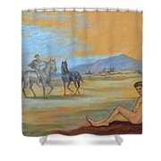 Original Oil Painting Art Male Nude With Horses On Canvas #16-2-5 Shower Curtain