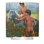 Original Oil Painting Gay Interest Male Nude Boy And Horse On Linen-0026 Shower Curtain