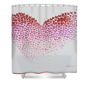 Original Oil Painting Heart, Painting Butterflies, Valentines Day Art, Wall Art Love Shower Curtain