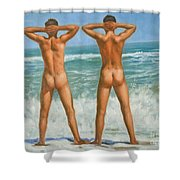 Original Oil Painting Male Nude Gay Interest Art By Seasid On Canvas #16-2-5-0-10 Shower Curtain