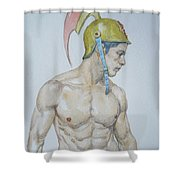 Original Watercolor Painting Male Nude Man #17511 Shower Curtain