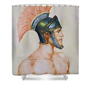 Original Watercolour Painting Art Male Nude Portrait Of General  On Paper #16-3-4-19 Shower Curtain
