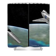 Orion IIi - Gently Cross Your Eyes And Focus On The Middle Image Shower Curtain