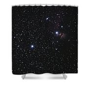 Orions Belt, Horsehead Nebula And Flame Shower Curtain by Luis Argerich