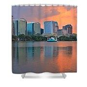 Orlando Cityscape Sunset Shower Curtain