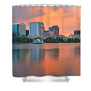Orlando Skyscrapers And Palm Trees Shower Curtain