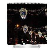Ornamental Design Christmas Light Decoration In Madrid, Spain Shower Curtain