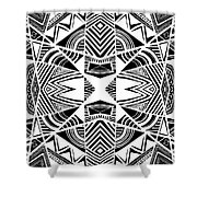 Ornamental Intersection - Abstract Black And White Graphic Drawing Shower Curtain
