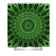 Ornamented Mandala In Green Tones Shower Curtain