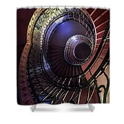 Ornamented Metal Spiral Staircase Shower Curtain