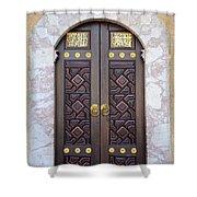 Ornately Decorated Wood And Brass Inlay Door Of Sarajevo Mosque Bosnia Hercegovina Shower Curtain