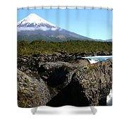 Osorno Volcano From Petrohue Falls Shower Curtain