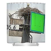 Osprey At Its Nest In A Navigation Marker Shower Curtain