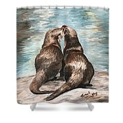 Otter Buddies Shower Curtain