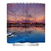 Oulu Moonrise Panorama Shower Curtain