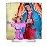 Our Lady Of Guadalupe And Child Shower Curtain