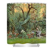 Our Little Garden Shower Curtain by Guido Borelli