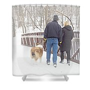 Our Love Will Keep Us Warm Shower Curtain