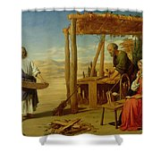 Our Saviour Subject To His Parents At Nazareth Shower Curtain by John Rogers Herbert