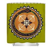 Ouroboros With Devine Fire Wheel Shower Curtain