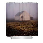 Out Building In The Fog Shower Curtain