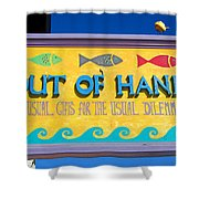 Out Of Hand Shop Sign Shower Curtain