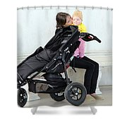 Out Of The Baby Stroller -- A Mother And Daughter Shower Curtain