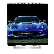 Blue 2013 Corvette Shower Curtain