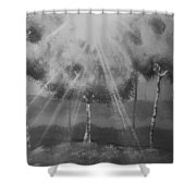 Outburst B And W Shower Curtain