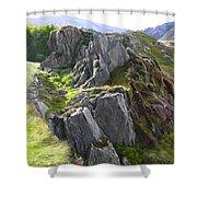 Outcrop In Snowdonia Shower Curtain