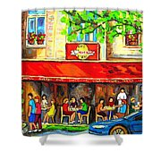Outdoor Cafe On St. Denis In Montreal Shower Curtain
