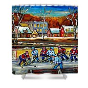Outdoor Hockey Rink Shower Curtain