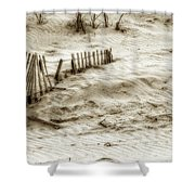 Outer Banks Beach Sand Fence  Shower Curtain