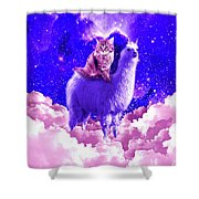 Outer Space Galaxy Kitty Cat Riding On Llama Shower Curtain
