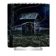 Outhouse In The Moonlight With Flying Crows Shower Curtain