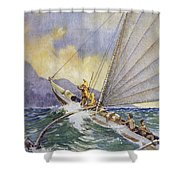 Outrigger At Sea Shower Curtain