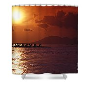 Outrigger Canoe At Sunset Shower Curtain