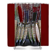 Outrigger Canoe Boats And Water Reflection Shower Curtain by Ben and Raisa Gertsberg