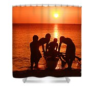 Outrigger Sunset Silhouet Shower Curtain