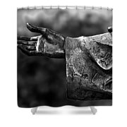Outstreched Hand B-w Shower Curtain
