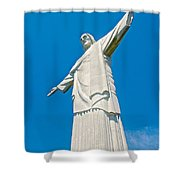 Outstretched Arms Of Christ The Redeemer Icon On Corcovado Mountain In Rio De Janeiro-brazil  Shower Curtain