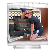 Over A Barrel Shower Curtain