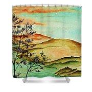 Over Orange Hills Shower Curtain