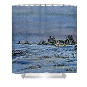 Over The Bridge And Through The Snow Shower Curtain by Charlotte Blanchard
